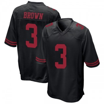 Youth San Francisco 49ers Jonathan Brown Black Game Alternate Jersey By Nike